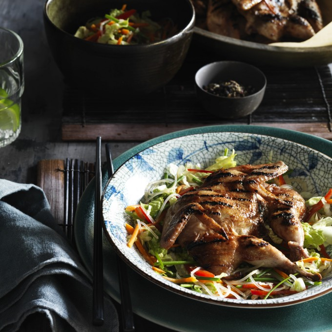 BBQ hoi Sin Butterfly Quail, Vietnamese Coleslaw and Soy Vinaigrette