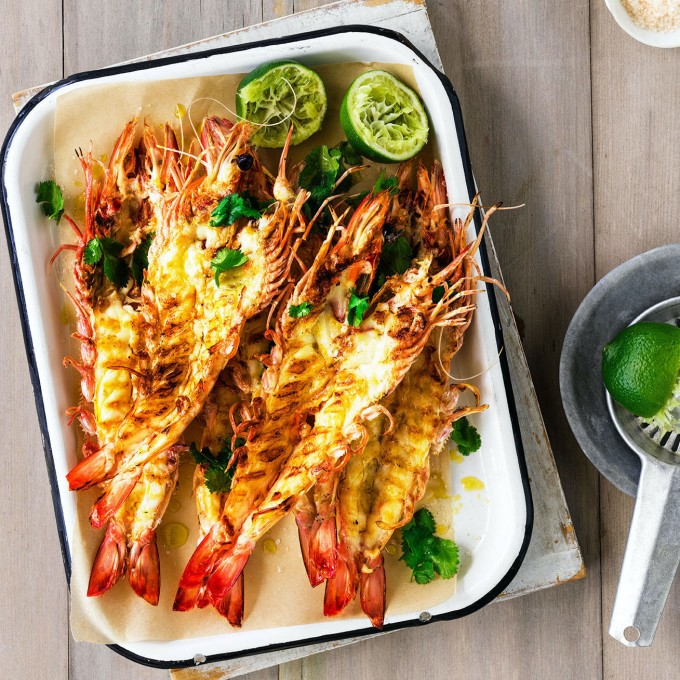 Aussie BBQ Prawns recipe on the barbecue