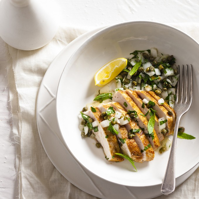 Chicken with Caper and Herb Salsa