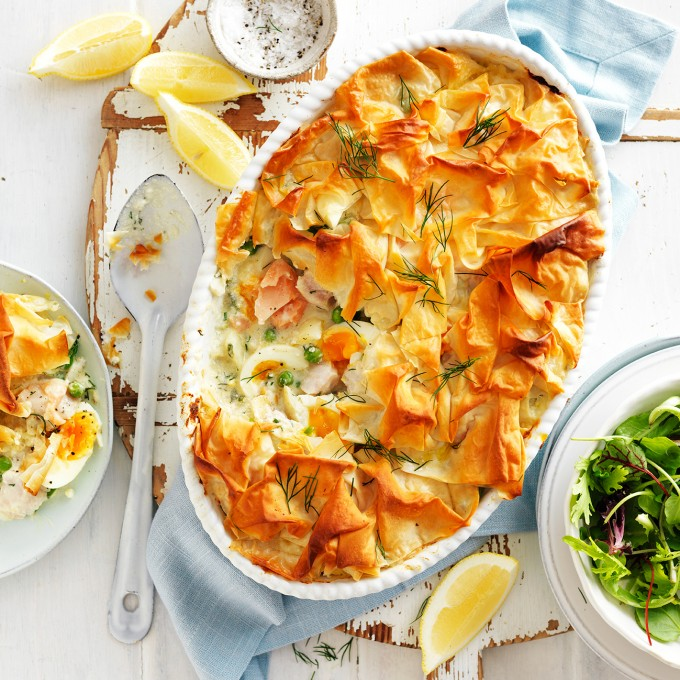 Best fish pie with salmon, white fish and pastry top