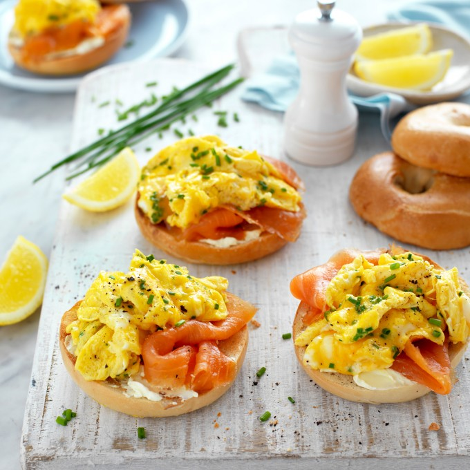 Scrambled Egg, Salmon and Cream Cheese Bagels