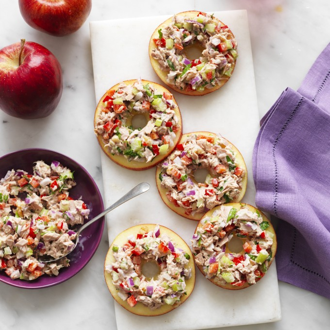 Healthy Tuna snack with apple