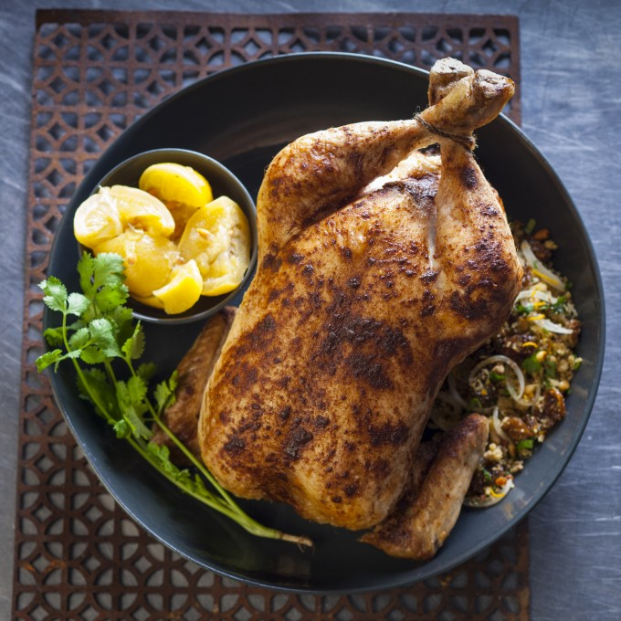 Chicken Roast Recipe with Couscous, Raisin and Pine Nut Stuffing
