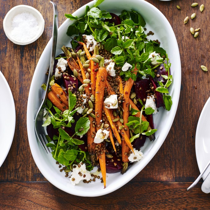 Roast Carrot and Beetroot Salad with Crisp Lentils
