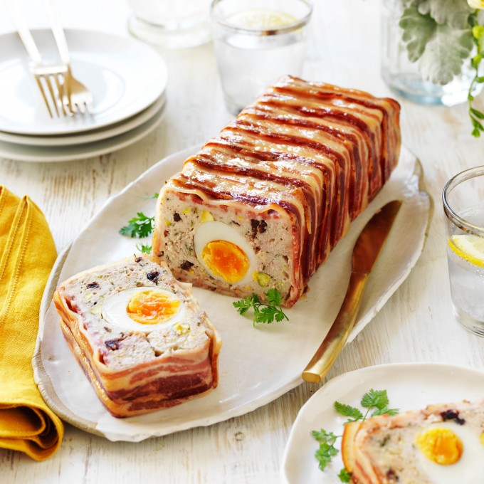 Chicken and pork mince terrine recipe with egg centre