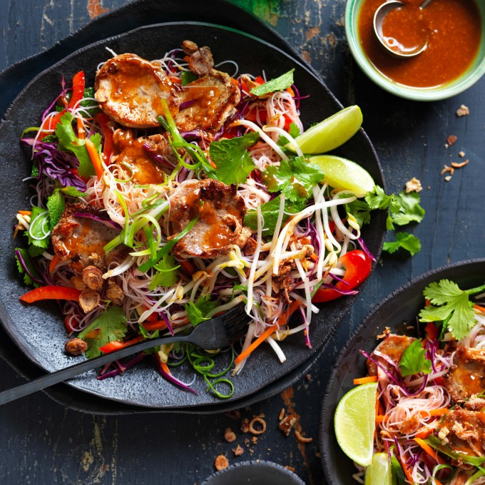 Satay Pork Vermicelli Rice Noodle Salad with fresh salad and herbs