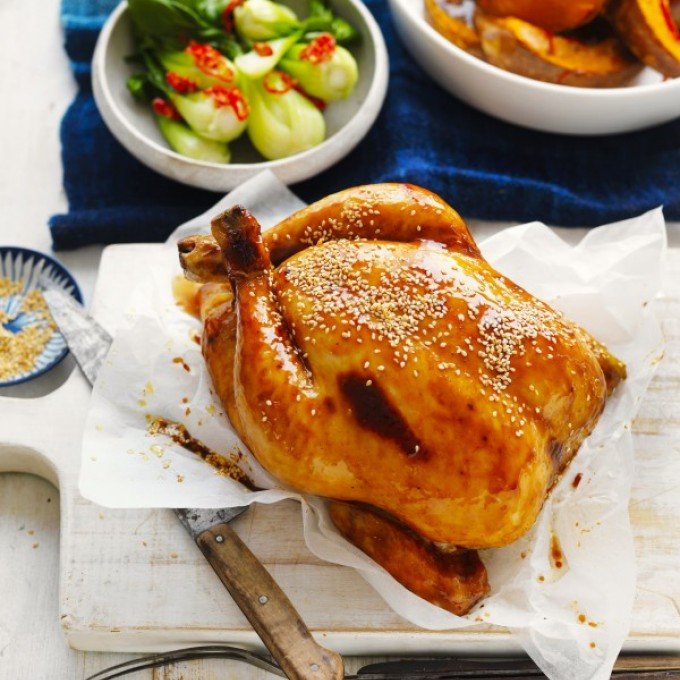 Easy winter roast chicken with orange flavours, pumpkin and vegetables