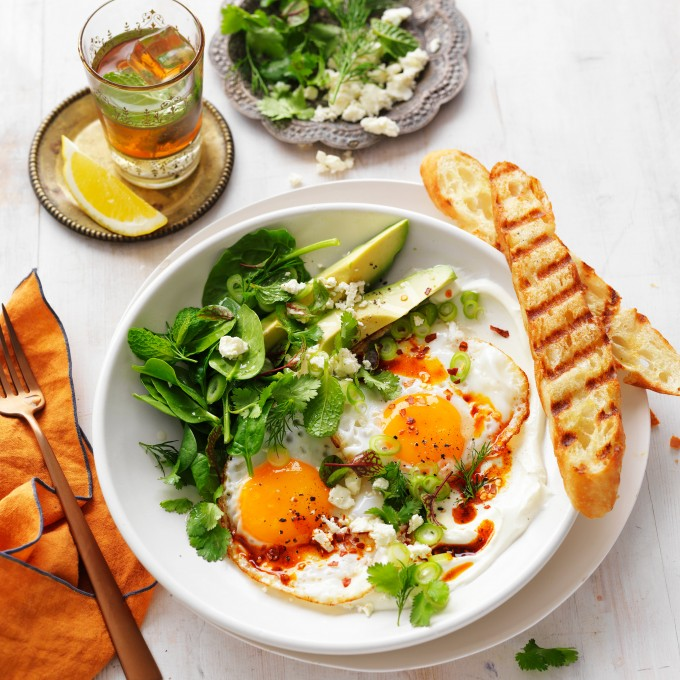 Turkish eggs with whipped yogurt and fresh herbs World Egg Day recipe