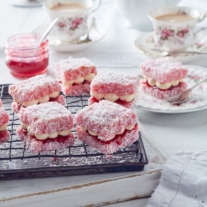 Pink Lamington Jelly Cakes recipe