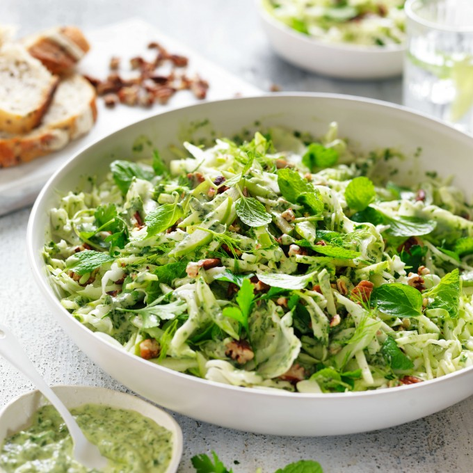 Fennel, Apple and Cabbage Slaw with Green Mayonnaise recipe