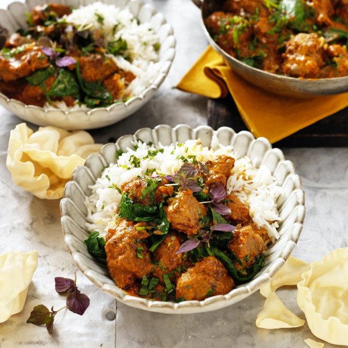Lamb Rogan Josh curry recipe with Yoghurt and Spinach