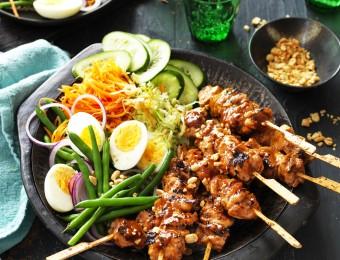 Chicken Satay Skewers with homemade Gado Gado salad