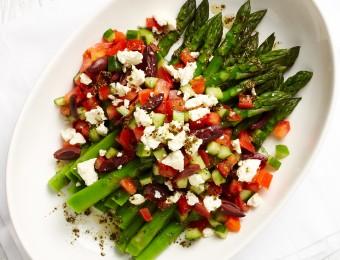 Asparagus with Greek Salad Dressing