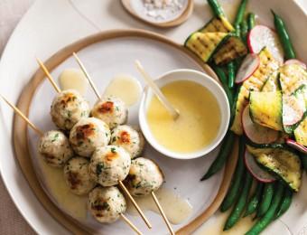 BBQ Chicken Meatball Salad with Preserved Lemon Vinaigrette