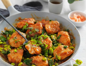 Braised teriyaki chicken with edamame