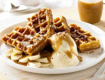 Banana Pecan and Caramel with Coconut Ice Cream Waffle