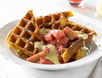 Poached Rhubarb and Vanilla Custard Waffle