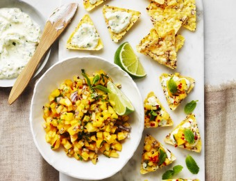 Corn Chip Bruschetta with Mangoes and Herb Ricotta