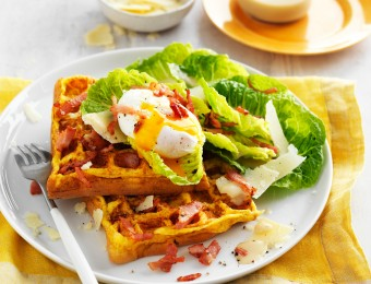 If you're looking for waffle maker recipes, this Chicken Caesar waffle omelettes recipe is perfect. Enjoy them as a high-protein low carb dinner recipe or for a light meal.