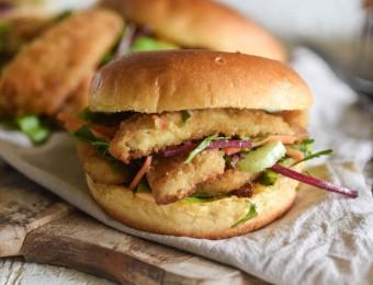 Crumbed fish burger with mayonnaise