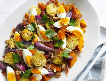Roasted Pumpkin, Brussels Sprouts and Prosciutto with Egg