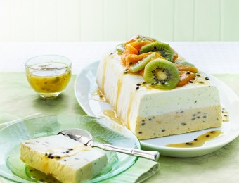 Layered Lime, Mango and Passionfruit Ice Cream Terrine
