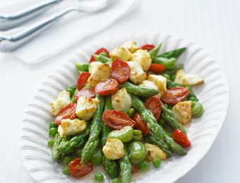 Oven Roasted Tomato, Broad Bean and Asparagus Salad Recipe
