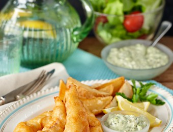 Beer Battered Fish and Chips with Pesto Tartare