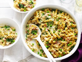 Bacon, Cheese and Spinach Pasta Bake