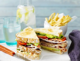 Super Ham and Turkey Club Sandwiches