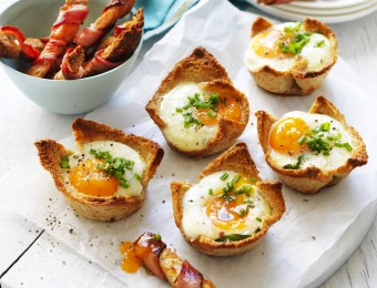 Egg Cups with Bacon Dippers