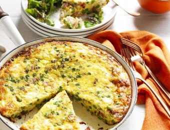 Pea Leek and Bacon Frittata