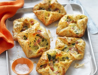 Ham, Cheese and Spinach Puff Pastries