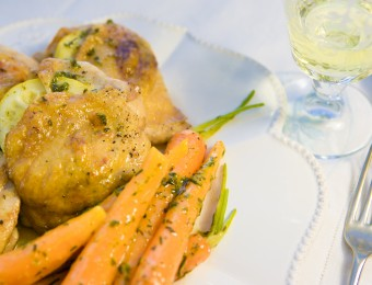 Lemon & Rosemary Roast Chicken with Chives & Thyme Dutch Carrots