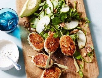 Chicken and Tarragon Skewers with Apple, Walnut Salad