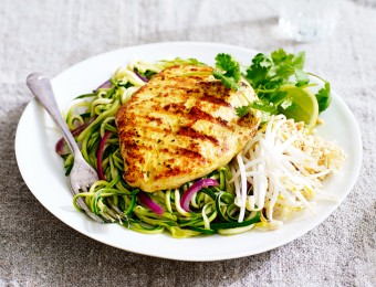 Lemongrass and Ginger Chicken with Zucchini Pad Thai Noodles