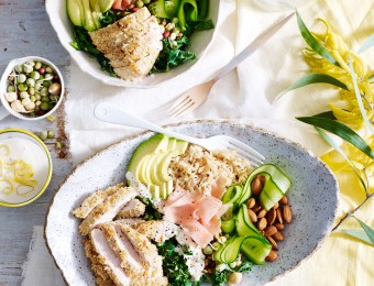 Sesame Chicken and Brown Rice Salad Bowl