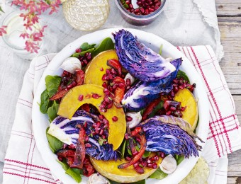 Roasted Red Cabbage and Pumpkin Wedges with Gremolata and Pomegranate Dressing