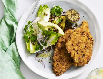 Chicken Schnitzel with Chargrilled Corn and Lentil Salad