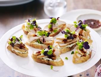 Sweet Chilli Chicken and Coriander Cream Crostini