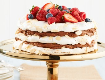 Layered Pavlova Cake with Chocolate Marsala Cream