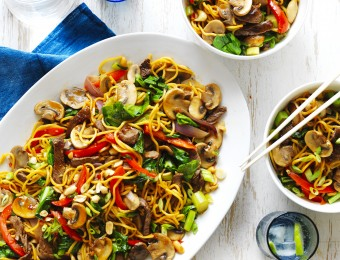 Easy Mushroom, Beef and Noodle Stir-Fry