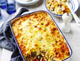 Cheesy Mushroom, Bacon and Veggie Pasta Bake Recipe