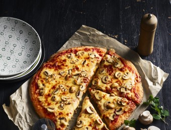 Mushroom Pizza with Easy Yoghurt Pizza Base Recipe