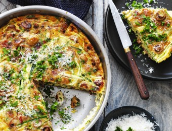 Mushroom, Zucchini and Bacon Family Frittata
