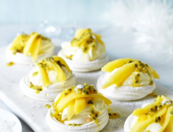 Mango and Passionfruit Meringue Nests