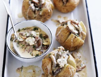 Baked Potatoes with Mushrooms & Bacon Sauce