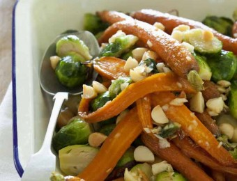 Warm salad of honeyed baby carrots, brussel sprouts and macadamias