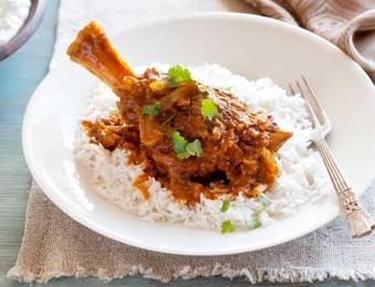 Slow cooked Indian lamb shanks