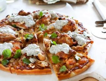 Satay chicken pizzas